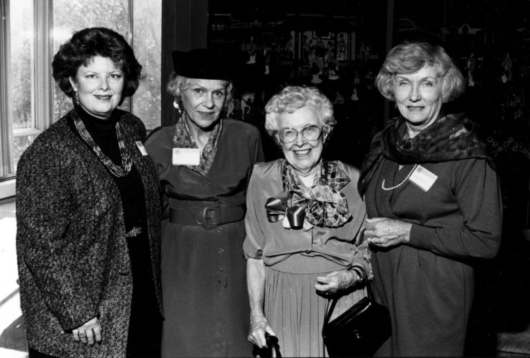 Nancy Schleicher, president of The Lucille B. Conger Group, Joyce Squires, president of The Sara Browne Smith Group, Alva Gordon Sink, founder of The Ann Arbor Alumnae Club, and later The Alva Gordon Sink Club, and Barbara Stephenson, the president of The Margaret Waterman Alumnae Group.